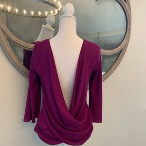 ZARA FUSCHIA OPEN BACK BLOUSE